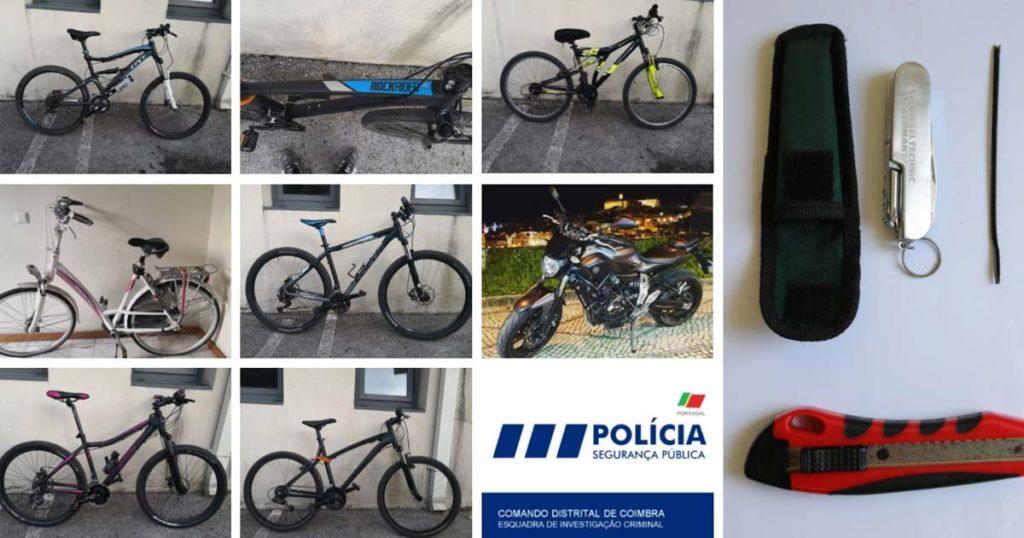 Detido em Coimbra por furto em garagens. Bicicletas e Motociclo recuperados.