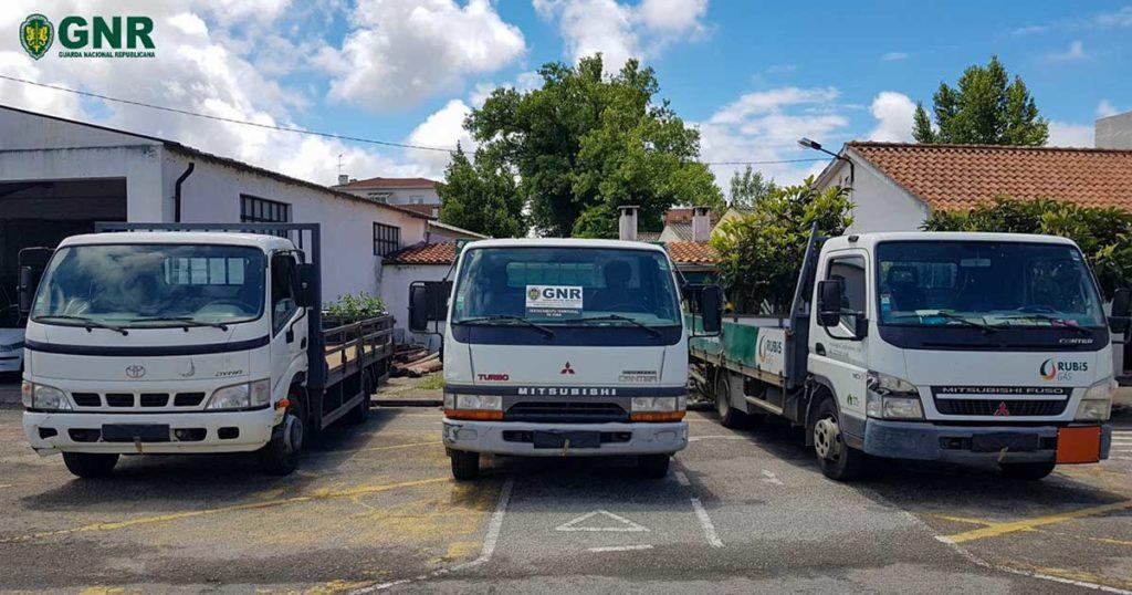 Mitsubish Canter e Toyota Dyna, furtadas, recuperadas pela GNR em Esmoriz