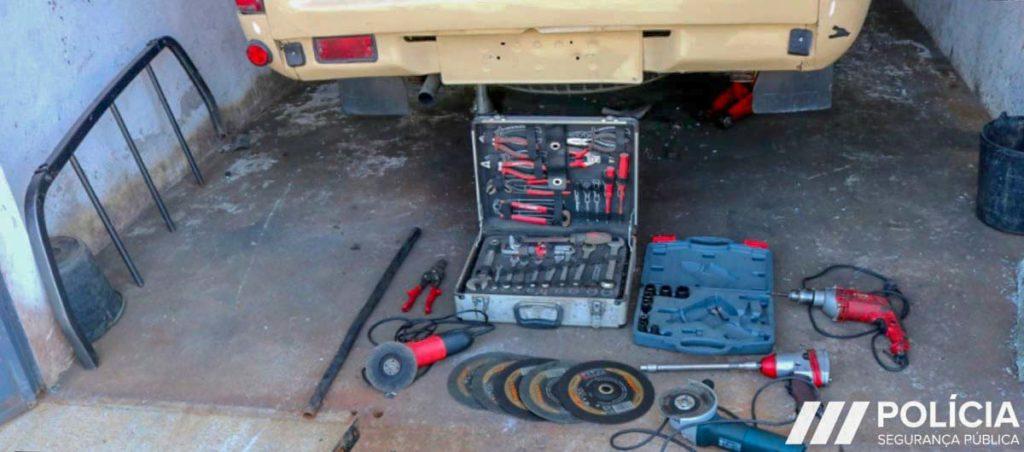 PSP apreendeu ferramentas utilizadas para desmantelar as viaturas furtadas