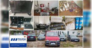 Viaturas, peças e material de construção apreendidos pela PSP de Lisboa